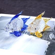 Хрустальная Золотая рыбка миниатюрная статуэтка ручной работы из стекла животное Хрустальное ремесло стекло домашний Декор подарок Рыбка брелок с орнаментом