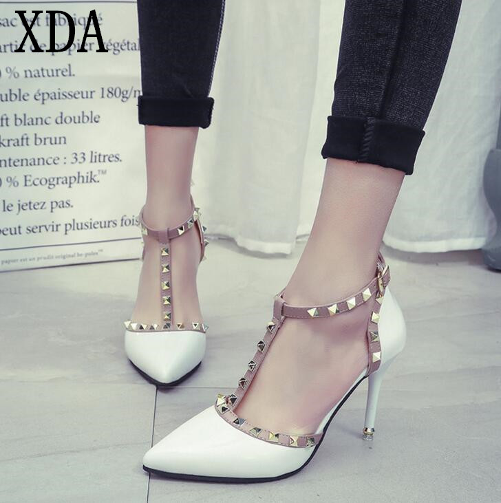 XDA 2017 NEW woman High heels shoes Ladies Sexy Pointed Toe women pumps Buckle rivets nude heels shoes free shipping X601