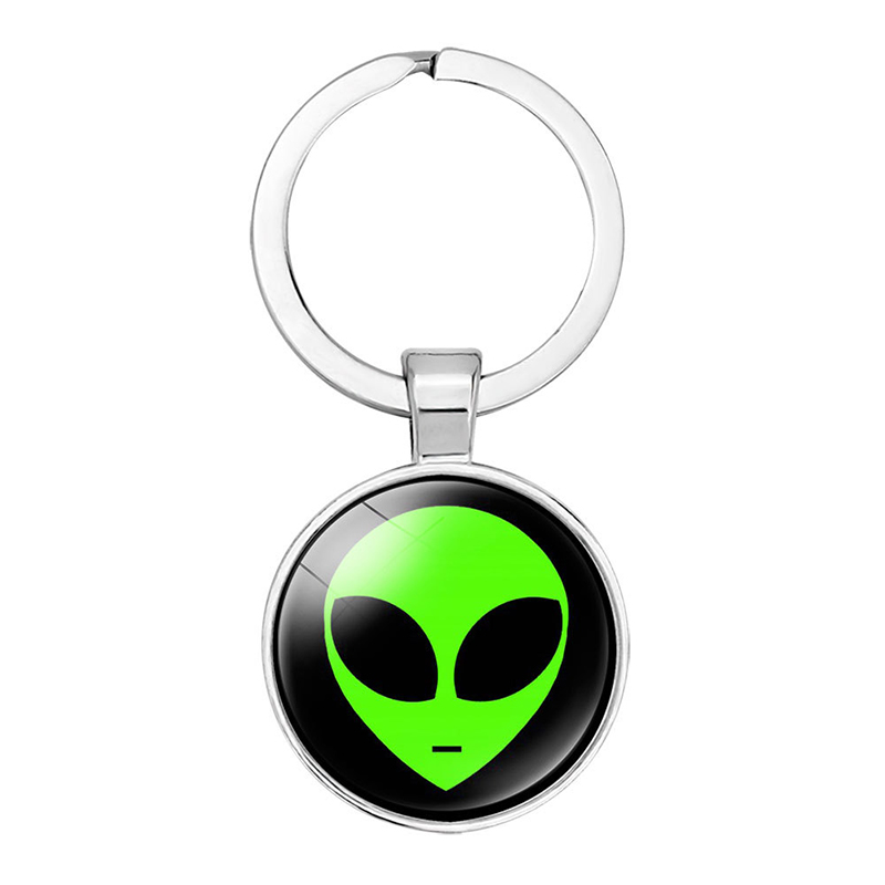 Alien Keychain Souvenirs Glass Cabochon Keyring Cartoon Child Keychain Pendant Gifts
