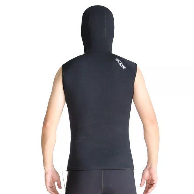 3mm Neoprene Wetsuit Sleeveless Jacket Men Hooded Scuba Diving Vest for Snorkeling Spearfishing Surfing Kite Basic Skin Wet Suit