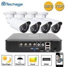 Nueva 4CH AHD 720 P DVR Sistema 4 UNIDS 1200TVL CCTV 1.0MP P2P ONVIF Seguridad Para El Hogar Mini Cámara Impermeable Al Aire Libre Kits de vigilancia