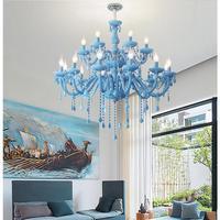 Free Shipping Modern Blue Chandelier Macaron E14 Pendant Children Bedroom Lamp Creative Fantasy Luminaire Stained Glass Lustre