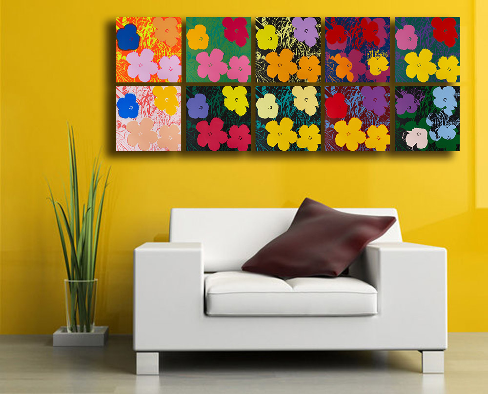 Andy Warhol 10pcs flowers Wall Art Oil Painting Prints Painting On ...