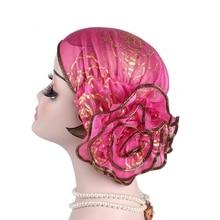 Best Selling 2019 Products Women Hat Muslim Flower Crown Hijab Headwrap Islamic Turban Elastic Glitter Abaya Inner Cap