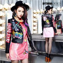 2016 Fashion Autumn Women Punk Heavy Metal Street Short Leather Jacket Black Zipper Rivet Long Sleeve Motorcycle coat W1525