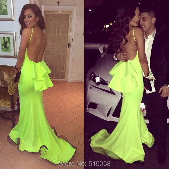 Aliexpress.com : Buy Sexy Open Back Lime Green Prom Dresses ...