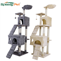 Domestic Delivery Cat climbing frame Large Cat Scratched Toy Cat House Tree Pet Furniture Scratched Wooden Tree Cat Jump Lladder