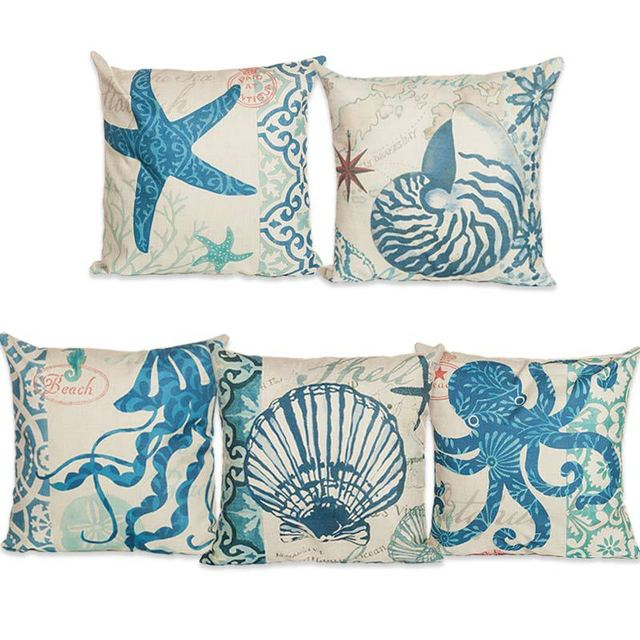 Home Decorative Pillow Cushion Cover 45x45cm Marine Coral Seahorse Starfish  Conch Octopus Kussenhoes Capa De Almofada