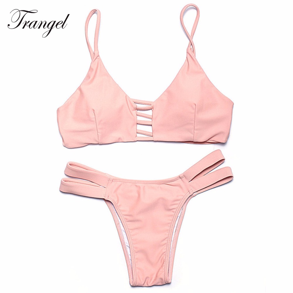 850561e484 Trangel bikini set 2017 women bralette swimsuit strappy swimwear cut out  swim wear Brazilian Bikini BF009