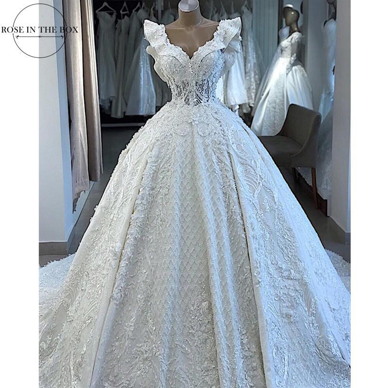 Super Luxury Beaded Wedding Dress 2019 Lace Up Back 3D Flowes Wedding Gowns Turkey Ruffles Sleeves Bridal Dress Plus Size