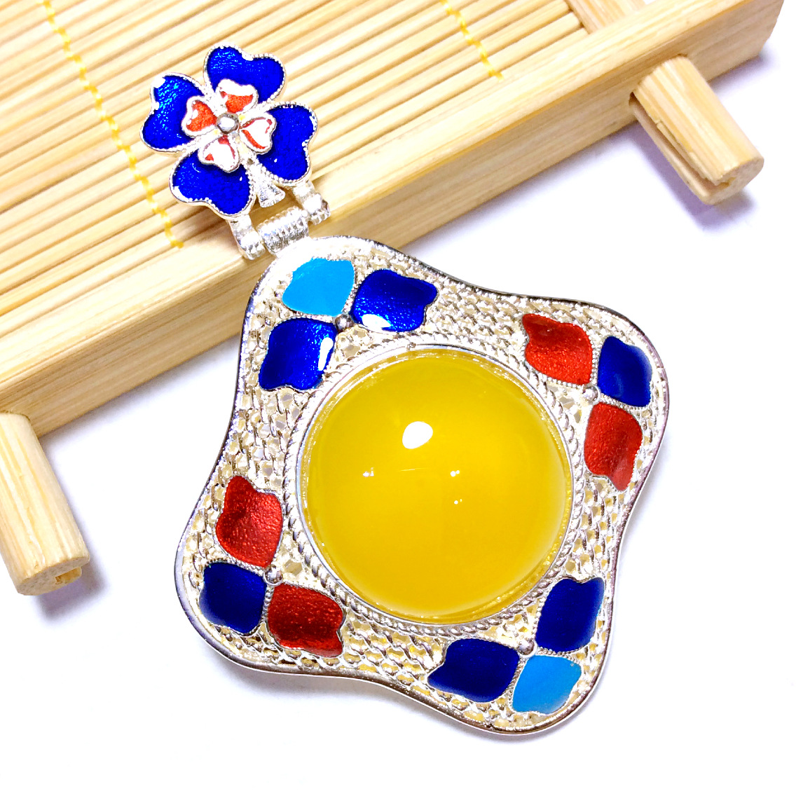 [S925] silver inlaid natural Cloisonne Filigree Pendant ornaments nail