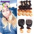Incrível de produtos para o cabelo brasileiro da onda do corpo com fechamento ombre humano cabelo 3 tom lace closure com 4 bundles corpo tece cabelo