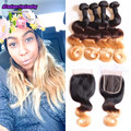 amazing hair products brazilian body  wave with closure ombre human hair 3 tone lace closure with 4 bundles body weaves hair