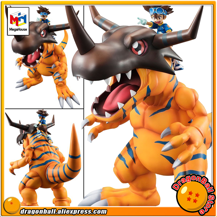 Japan Anime Digimon Adventure 3 Original MegaHouse G.E.M. Exclusive Complete Figure - Greymon & Taichi Yagami japan anime digimon adventure original megahouse g e m complete figure angewomon & yagami hikari