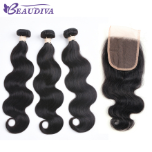 Beaudiva Pre-Colored Brazilian Remy Hair Body Wave With Closure 100% Human Hair Weave Natural Color 3 Bundles With Lace Closure