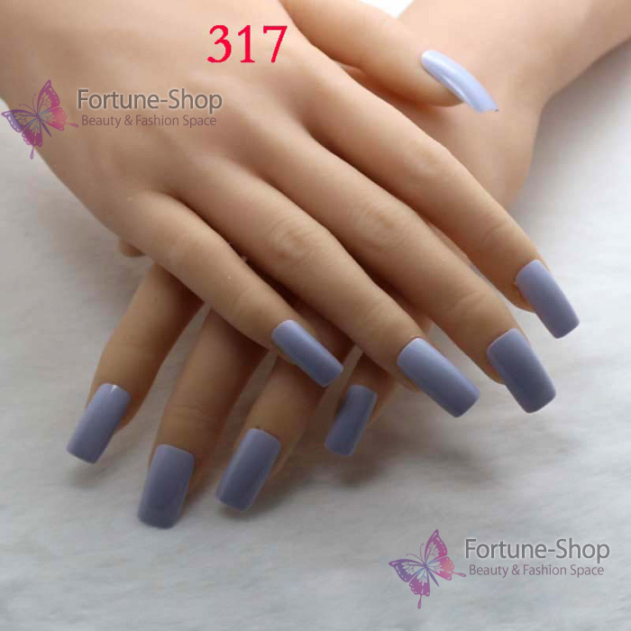 TKGOES 20pcs/set Fake Nails Color Light Blue Acrylic Nail Tips ...