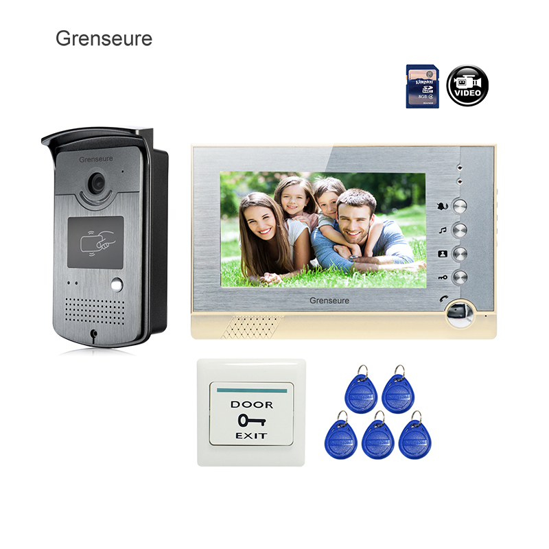 FREE SHIPPING BRAND NEW 7 Home Video Intercom Door phone System With recording Monitor + RFID Card Reader Door Camera WHOLESALE free shipping brand new 7 home video intercom door phone system with recording monitor rfid card reader door camera wholesale