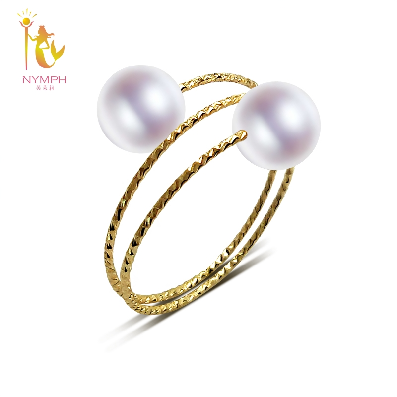 цена NYMPH 18K Yellow Gold Rings Natural Freshwater Pearl Rings AU750 Fine Wedding Brands For Women Trendy Party Engagement Box J302