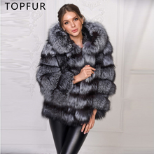 TOPFUR 2019 New Fashion Real Fur Coat For Women Winter Thick Jacket With Hood Luxury Natural Silver Fox Outwear
