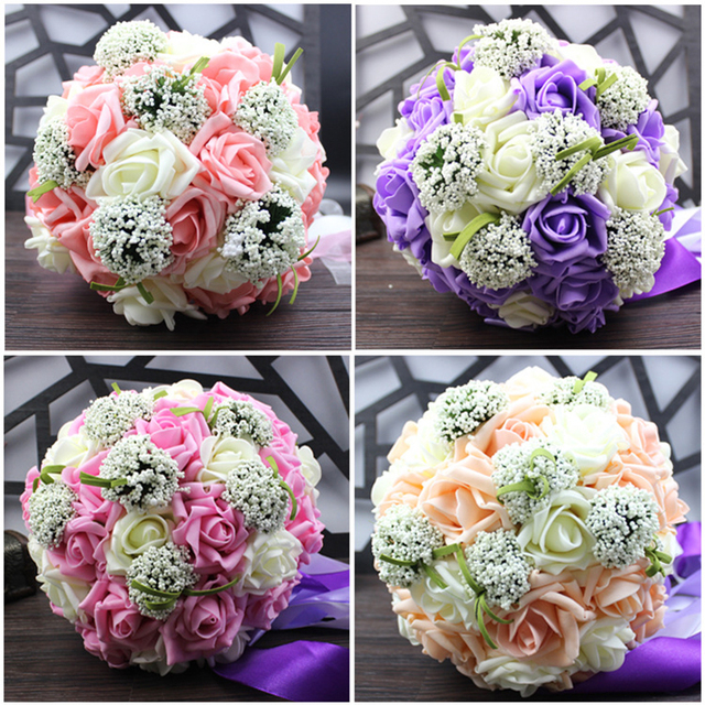 Honey Qiao Wedding Bouquets Bridal Buque De Noiva 2017 Romantic Pink and White Holding Flowers Sweet Rose with Pearls Crystal