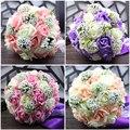 Miel Qiao Buque De Noiva Boda Ramos de Novia 2017 Romántico Rosa y Blanco Que Sostiene Las Flores Dulce Rosa con Perlas de Cristal