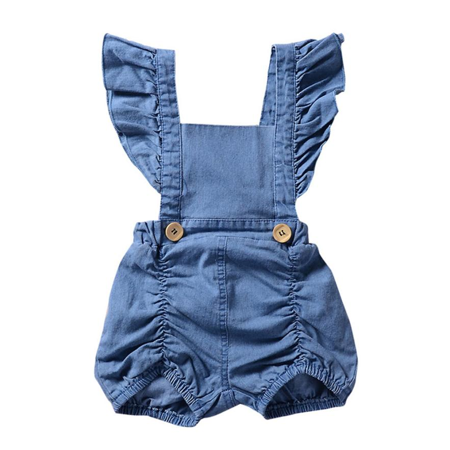 Baby Girls Rompers Solid Button Cotton Onepiece Summer Casual Sleeveless Infant Active Print Clothing 18Mar26