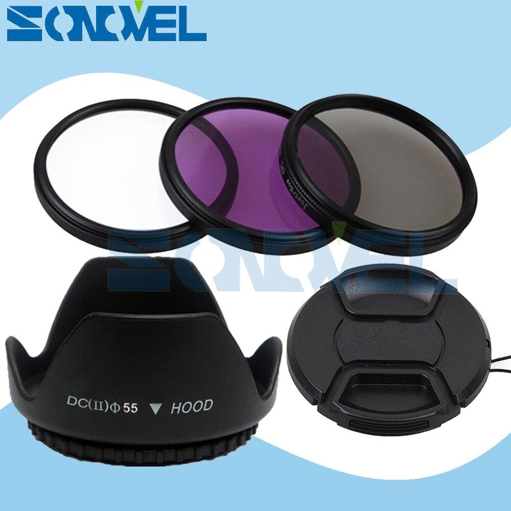 55mm UV CPL FLD Objectif Filtre Kit + Bouchon D'objectif + Pare-soleil Fleur Pour Nikon D5600 D5500 D5300 D5100 D3400 D7500 D750 avec AF-P 18-55mm
