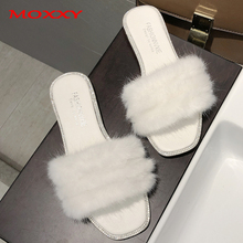 где купить 2019 New Women's Furry Slippers Ladies Plush Fluffy Slippers Women Fur Slippers Winter Flat House Home Indoor Slippers slides дешево