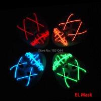 Маска оптовая продажа 10 шт Бесплатная доставка EL Провода светящаяся маска Rave пользовательские маски создано 2 AA Батареи для флэш партии пос