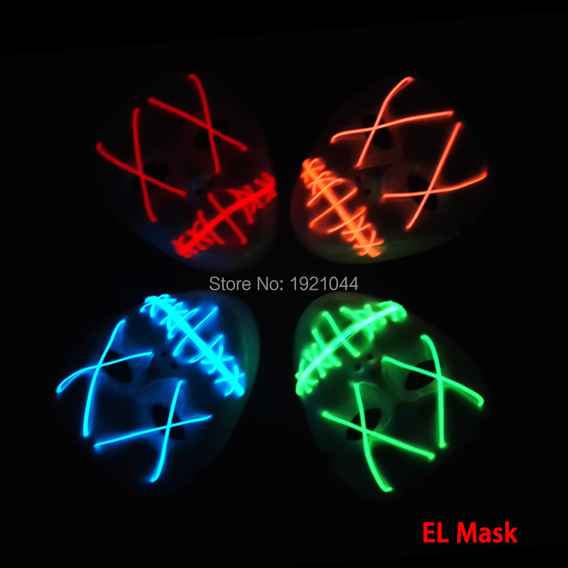 Masque en gros 10 pièces livraison gratuite EL fil brillant masque Rave masque personnalisé alimenté par 2 piles aa pour les fournitures de fête Flash
