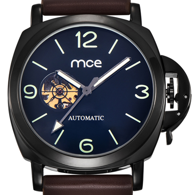 MCE watch for men fashion skeleton watches casual automatic mechanical watches leather wrist watch men 338 mce automatic watches luxury brand mens stainless steel self wind skeleton mechanical watch fashion casual wrist watches for men