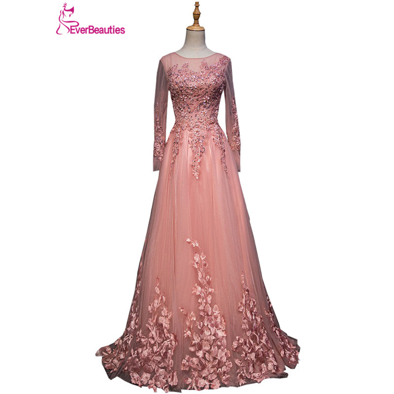 Robe De Soiree Evening Dresses Long Tulle Lace Appliqued Beaded Long Sleeves Prom Party Dresses Lace up Abiye Abendkleider 2020