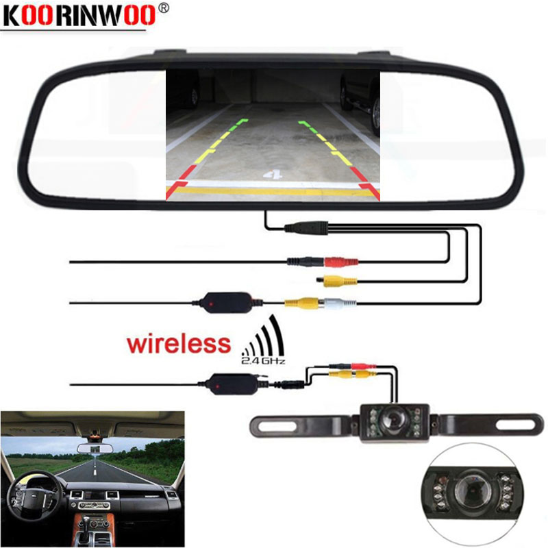 Koorinwoo CCD Universal Park Assistance System Wireless 5 Inches Digital TFT LCD Monitor+License Plate Reversing Back Up Camera