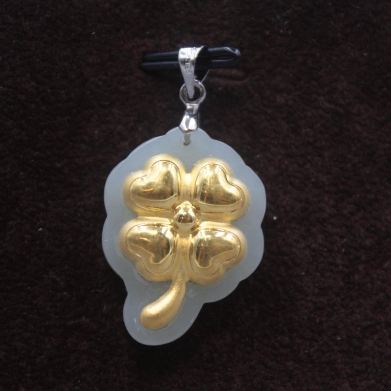 New 24K Yellow Gold Natural Jadeite Jade Women Men Four Leaf Clover Bless Pendant 26x19mm