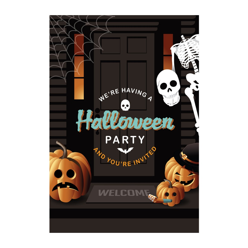 happy halloween garden flags wooden door pumpkin and skeleton