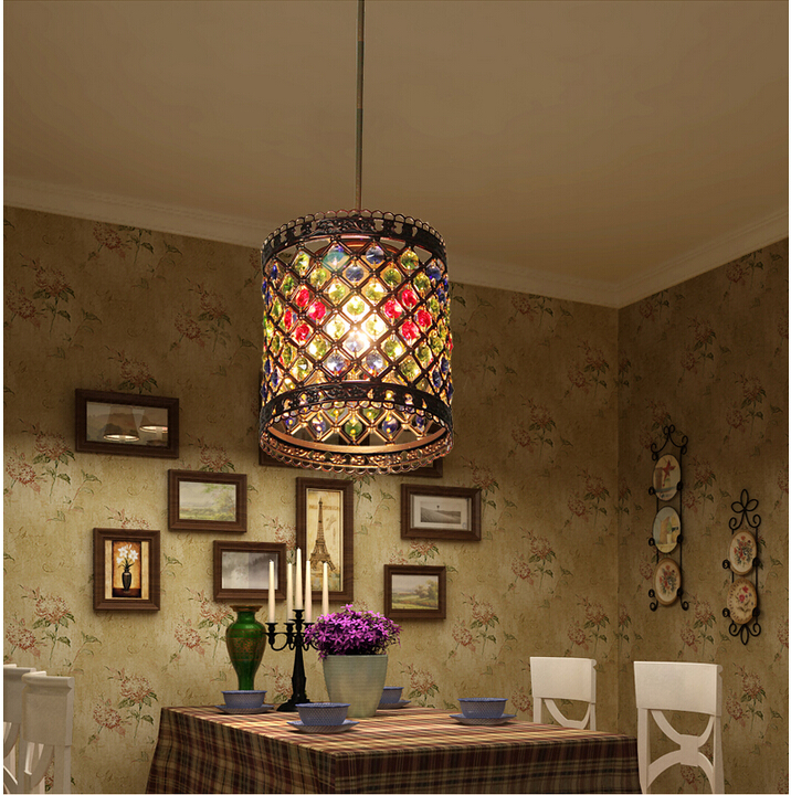 d150mm crystal pendant lamps lighting 1 head bohemian iron bar pendant light colorful crystal pendant bohemian lighting