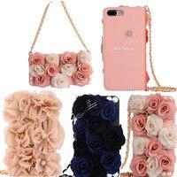 Pearl pink rose Flowers leather Case for iphone 5 se 5s 6 6s plus 7 8 plus women handbag Flip wallet card holder back cover