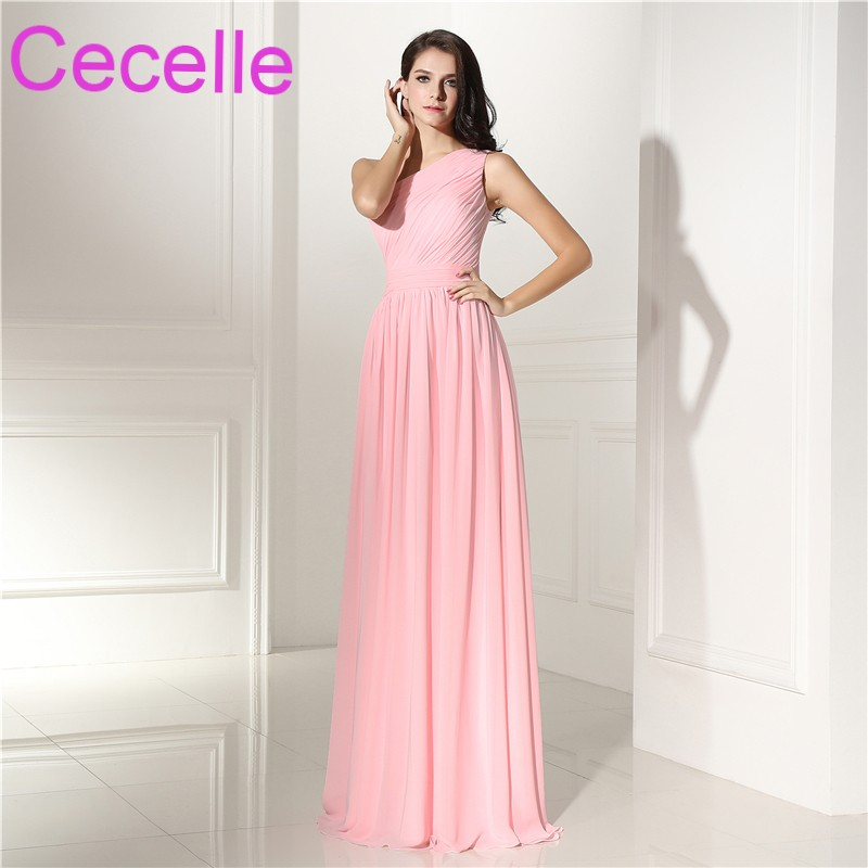 Pink One Shoulder Chiffon Long Bridesmaid Dresses Floor Length A ...