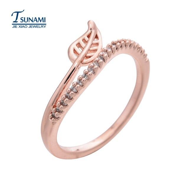 85ab67632380 Elegante hoja en forma de oro rosa anillo de circón AAA