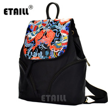 ETAILL Brand New Floral Embroidery Backpacks High Quality Drawstring Fashion Daypack Female Girls Bags School Nylon Backpack