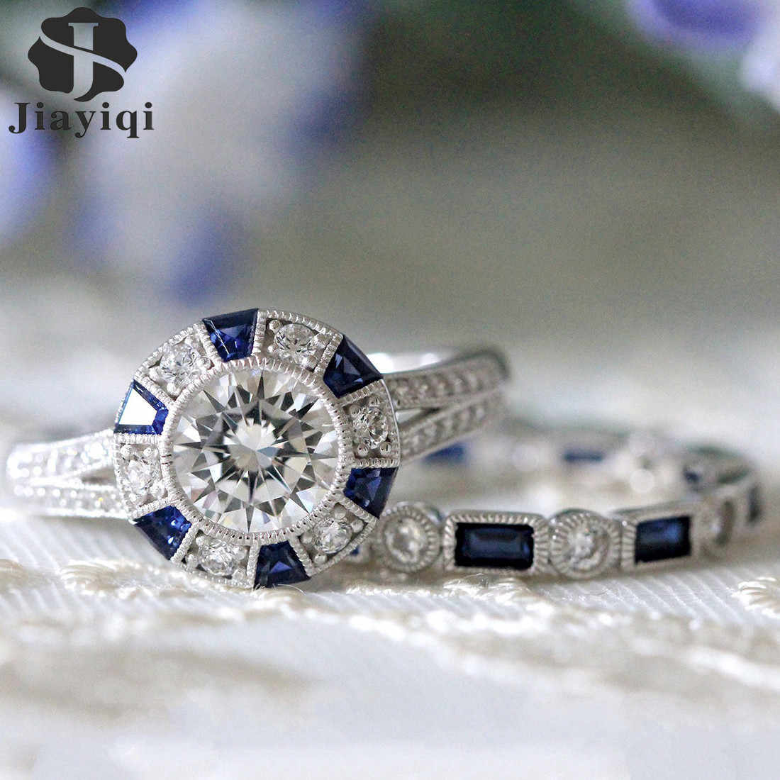 Fashion 2pcs/Set Luxury Blue Wedding Ring For Woman Silver Plating Zircon Ring Jewelry