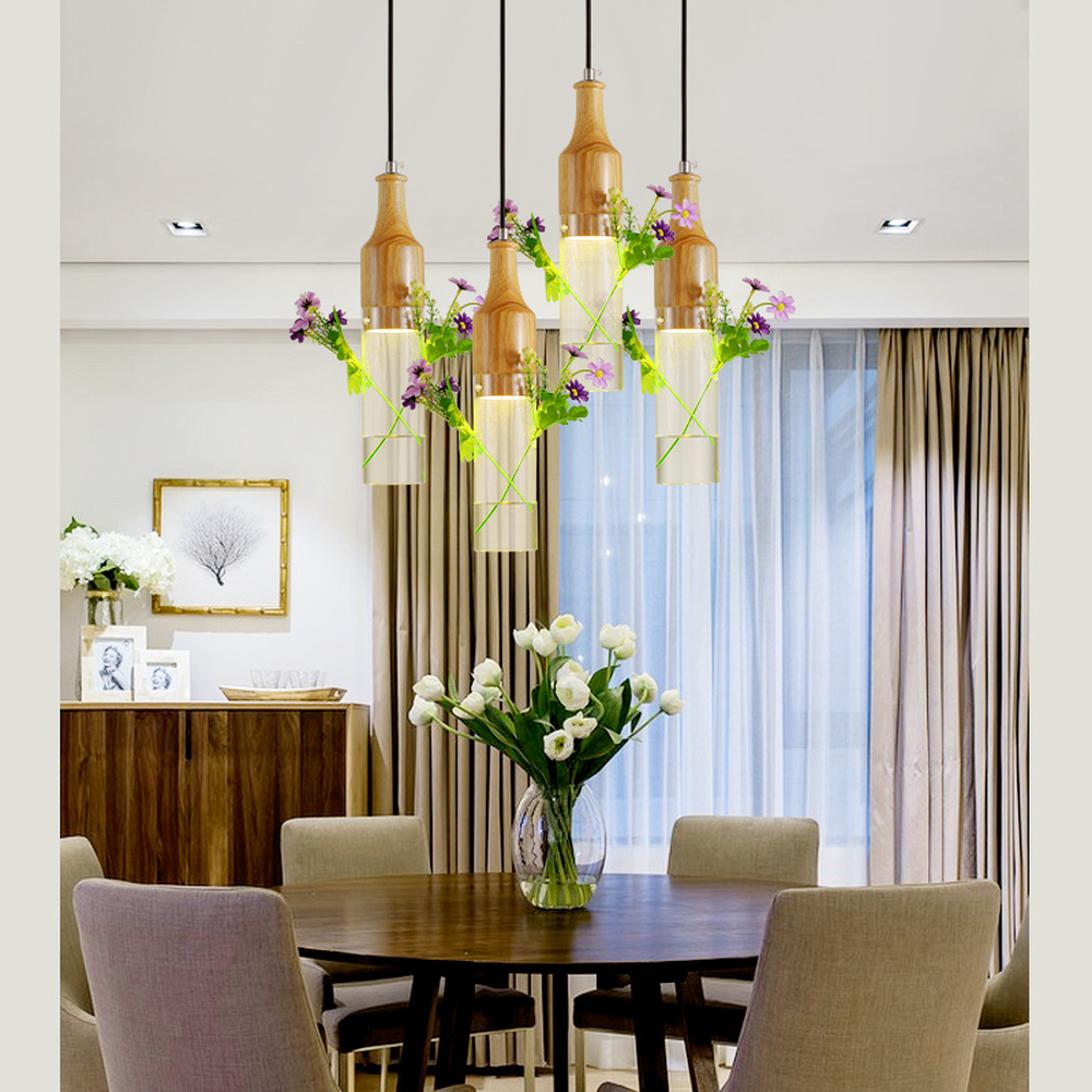 все цены на Nordic wooden pendant lights personalized glass restaurant lamp wooden chandelier Japanese chandelier pendant lamp LU807103 онлайн