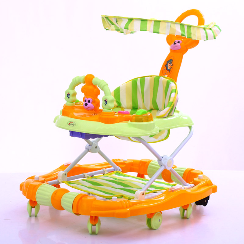 Baby Walker Luxury Toddler Walker Toy Comfy Baby Walker Seat Multifunction Music Toy Canopy Rocking Horse