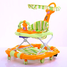 Baby Walker Luxury Toddler Walker Toy Comfy Baby Walker Seat Multifunction Music Toy Canopy Rocking Horse with Light