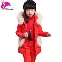 Children Clothing Set For Girls Fashion2016 Winter Fur Hooded Down Jacket Parka Pants Blouse 3 Pieces