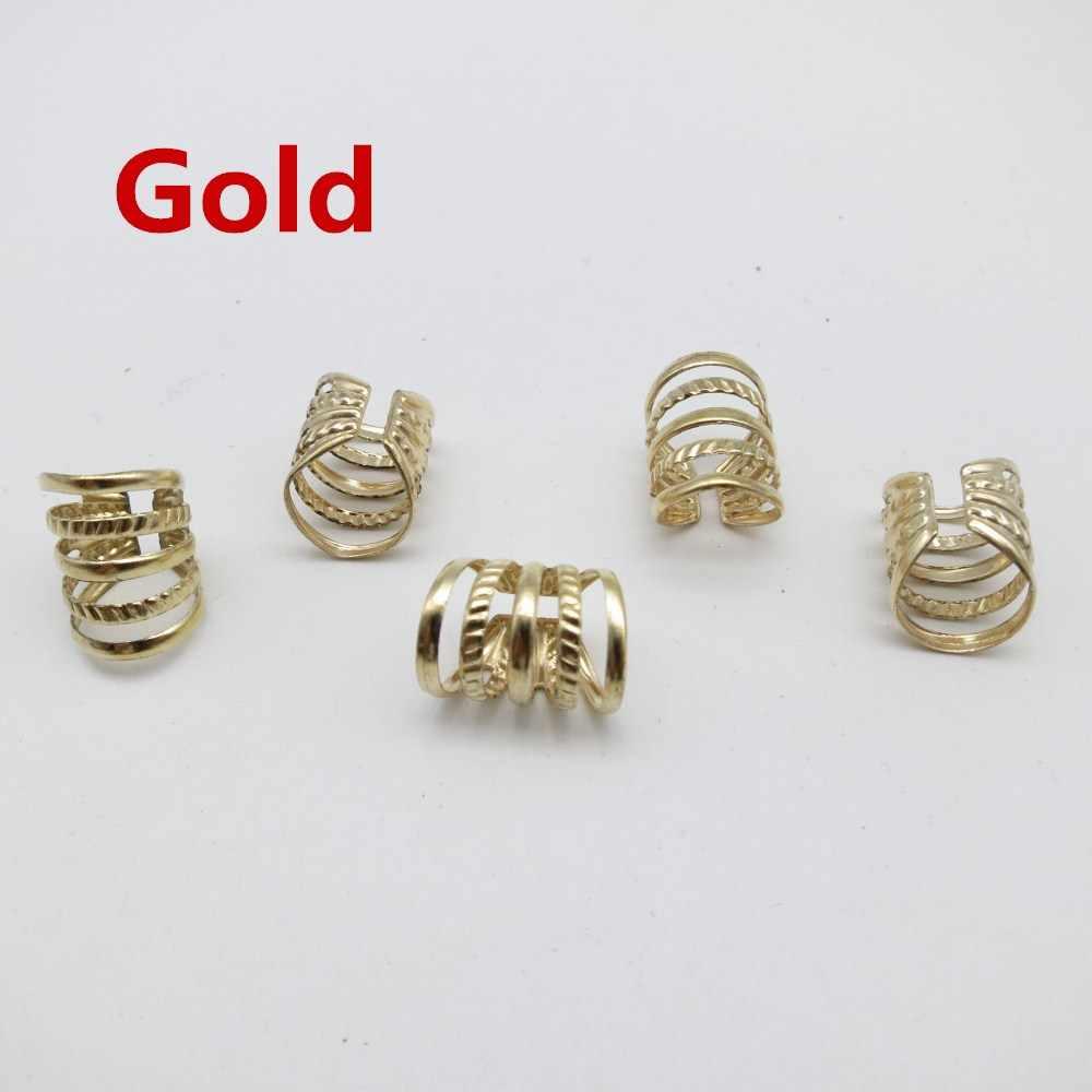 5 個の 10 個ゴールド/シルバー調節可能なヘア恐怖組紐ドレッドビーズ袖口クリップのためのヘアアクセサリー