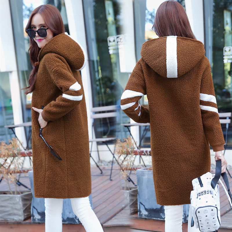 2017 New Arrival Lamb Wool Hooded Coat Slim Thick Clothing With Long Sleeves Zipper Fashion Plus Size Overcoat Windproof MY0014 new arrival fashion winter lamb wool down jackets long sleeves fur hooded collar pockets parkas overcoat splice women coat h5239