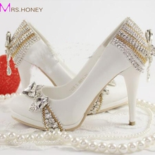 2016 Spring And Summer Aesthetic White Bridal Shoes Crystal Cinderella Shoes Wedding Party Prom High Heel Shoes Women Shoes