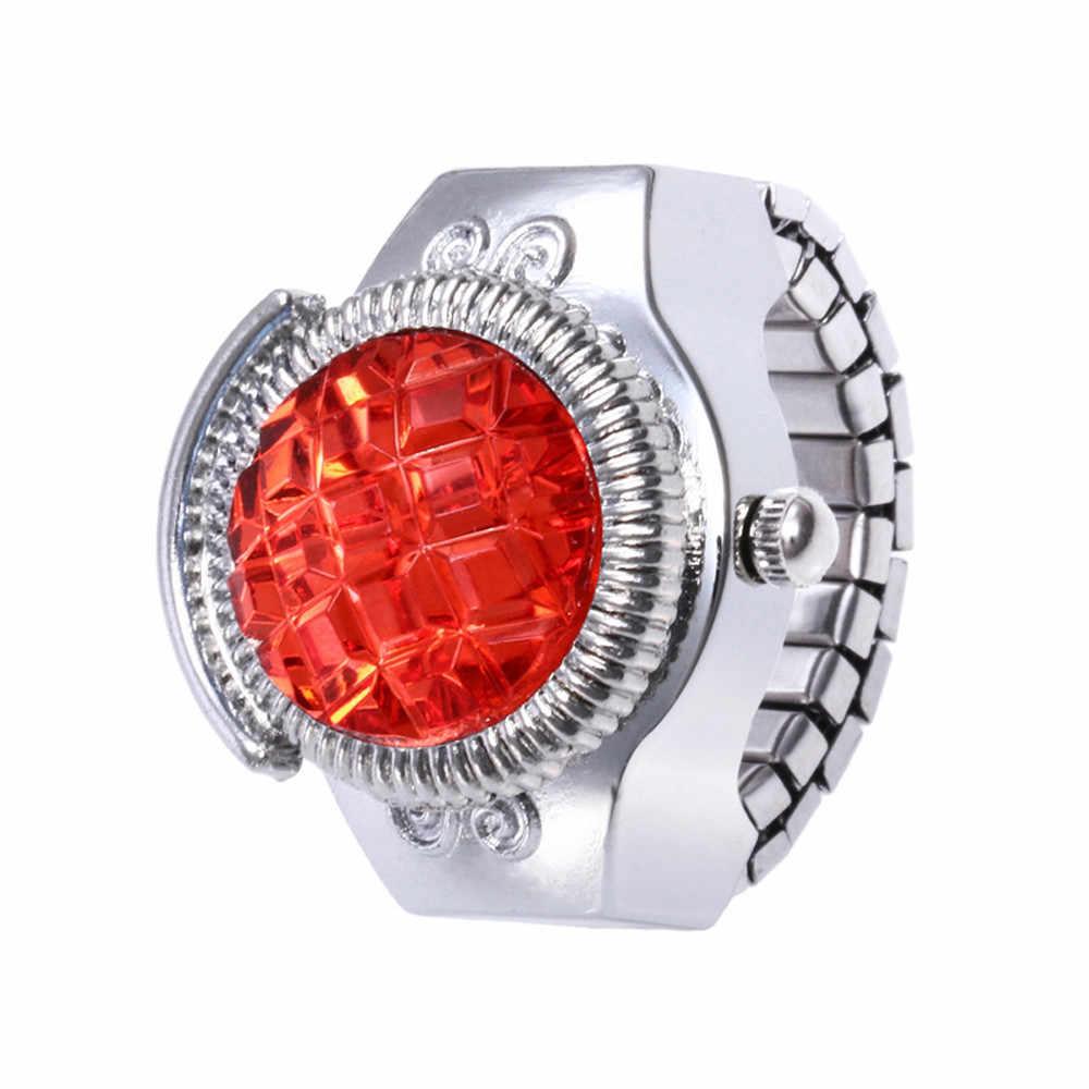 เครื่องประดับสไตล์แฟชั่นผู้หญิงผู้ชายแหวนนาฬิกาเครื่องประดับนิ้วมือแหวนหินเหล็กยืดหยุ่น Lady Girl ของขวัญ Dropship