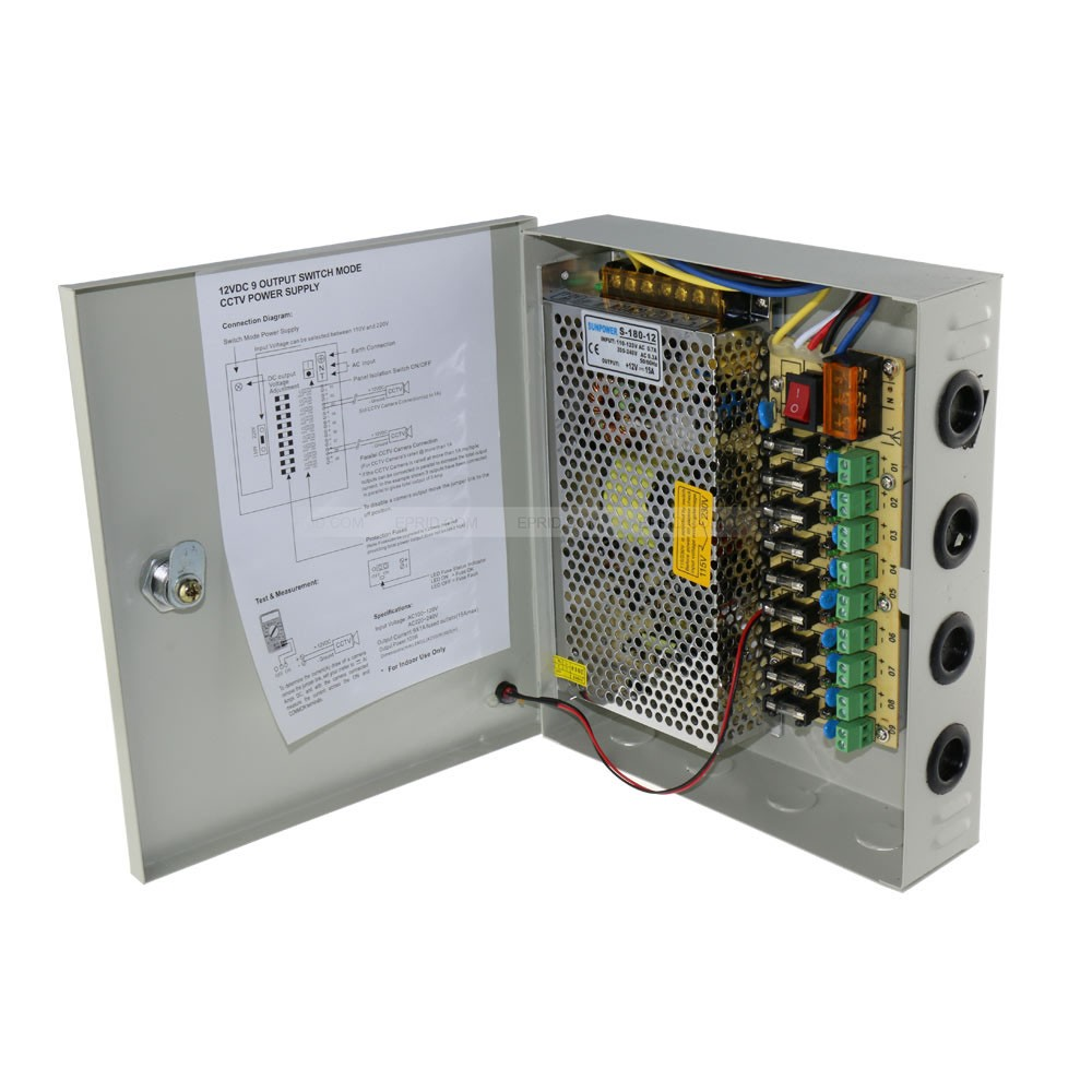 CCTV Power Supply Box, 9 Port Channel 15A 180W Distribution Metal Fuse AC 110 -240V To DC 12V For Surveillance Camera